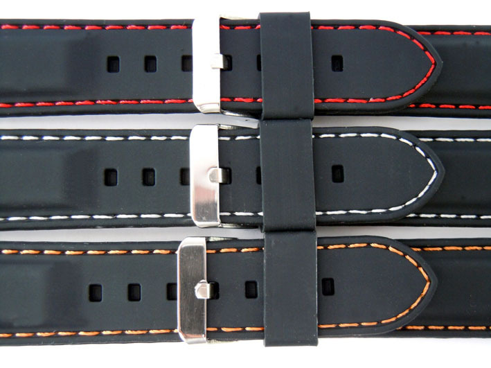 3d97cd1af46 Soft Silicon Rubber Watch Strap with Stitching - eieiwatchstraps.com