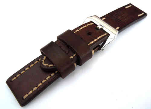 Geneva Hand Made Vintage style Ammo Leather watch strap