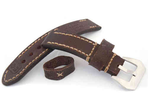 Potter Hand Made Vintage Style Ammo Leather Watch Strap