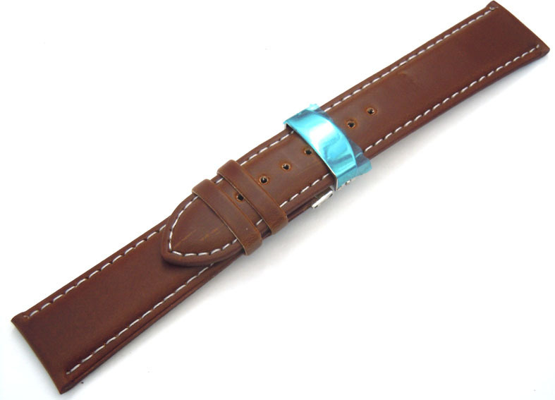 1bae4dc2a49 Dark Brown Leather Watch strap White Stitching on butterfly deployant clasp  ...