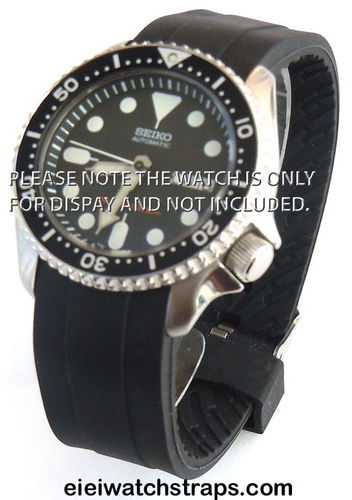 22mm Heavy Duty Marine II Silicon Rubber Divers Watch strap with curved lugs For Seiko Watches