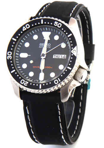 Silicon Rubber Watch Strap with Stitching on Deployment For Seiko Divers Watch