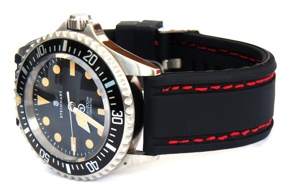 22mm navy seal ii silicon rubber stitched for steinhart divers watch for Watches navy seals use