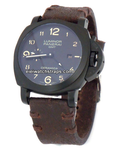 Cugy Handmade Vintage style Ammo leather watchstrap for Panerai Watches