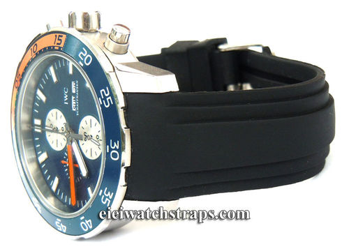 Heavy Duty Marine Silicon Rubber Divers Watchstrap with curved lugs For IWC Aquatimer