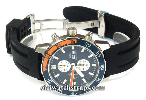 'Monaco' 22mm Silicon Rubber Divers Watchstrap on Deployment Buckle For IWC Aquatimer