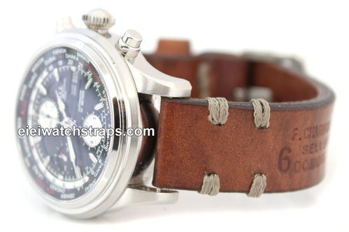 Dom Handmade Vintage style Ammo leather watchstrap For Ball Watches