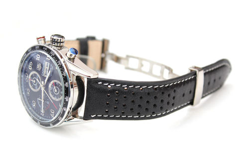 Rally Perforated WHITE stitched Black Leather Watchstrap For Tag Heuer Carrera
