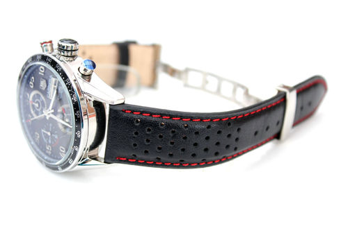 Rally Perforated RED Stitched Black Leather Watchstrap For Tag Heuer Carrera
