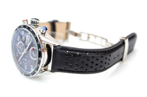 Rally Perforated Stitched Black Leather Watchstrap For Tag Heuer Carrera