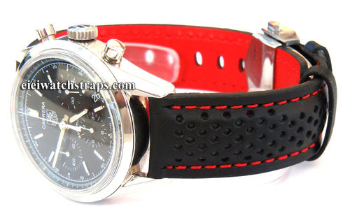TAG Heuer Motorsport Leather Watchstrap, red stitching For Tag Heuer Carrera