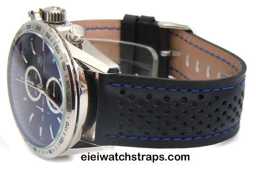 TAG Heuer Motorsport Leather Watchstrap, Blue Stitching For Tag Heuer Carrera