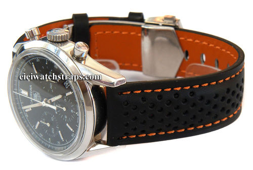 TAG Heuer Motorsport Leather Watchstrap Orange stitching For Tag Heuer Carrera