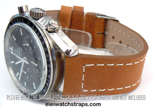 Double Thickness Edge Saddle Brown Leather Watch strap For Omega Speedmaster