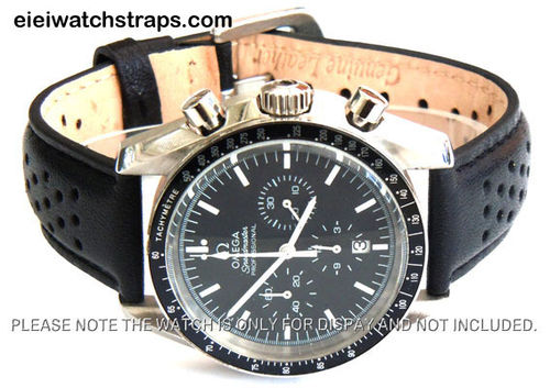 Rally Perforated Stitched Black Leather Watch Strap For Omega Speedmaster
