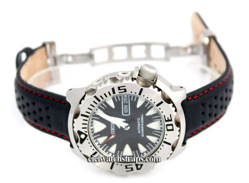 Perforated RED Stitched Black Leather Watchstrap For Seiko Watches