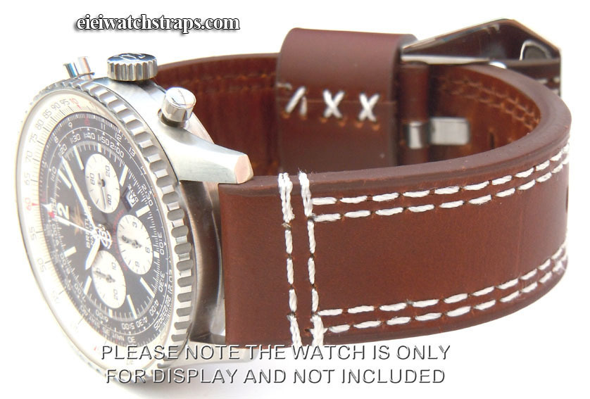 69b31a1c5 Hand Stitched Coffee Brown 22mm Leather Watch Strap Fishtail Buckle For  Breitling Navitimer ...
