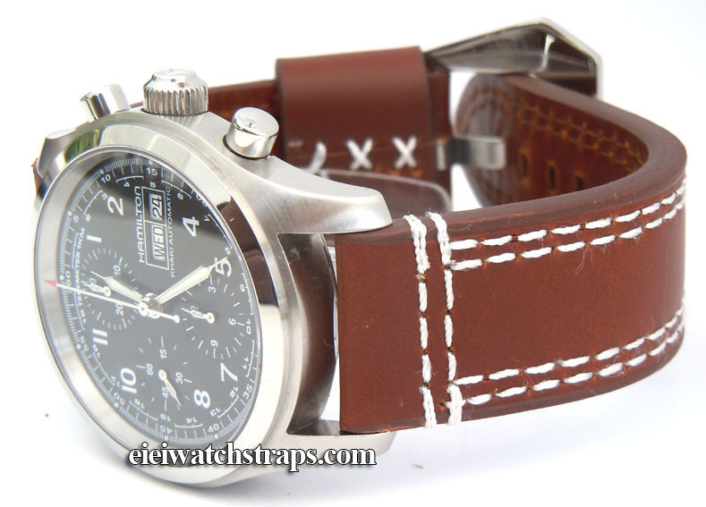 65a965280 Hand Stitched Dark Brown 22mm Leather Watch Strap Fishtail Buckle For  Hamilton Watches ...