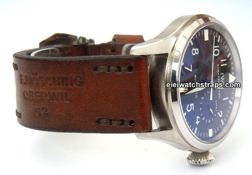 Brooklands Handmade Vintage style Ammo leather watchstrap For IWC Pilot's Watches