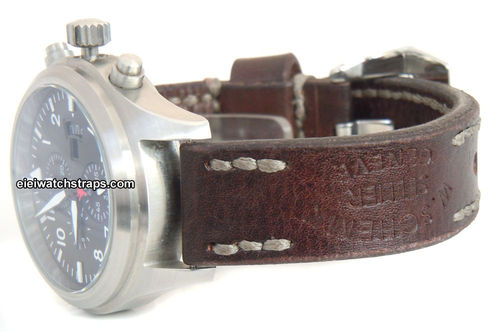 Geneva Handmade Vintage style Ammo leather watchstrap For IWC Pilot's Watches