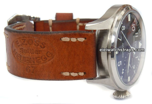 Zoss Handmade Vintage style Ammo leather watchstrap For IWC Pilot's Watches