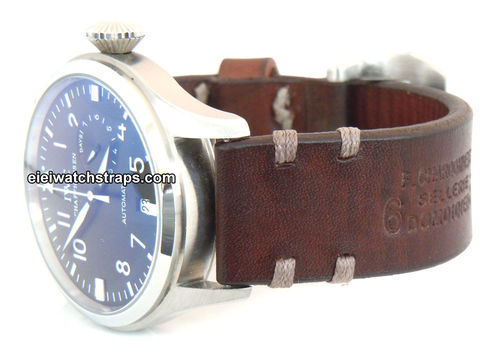 Dom Handmade Vintage style Ammo leather watchstrap For IWC Pilot's Watch