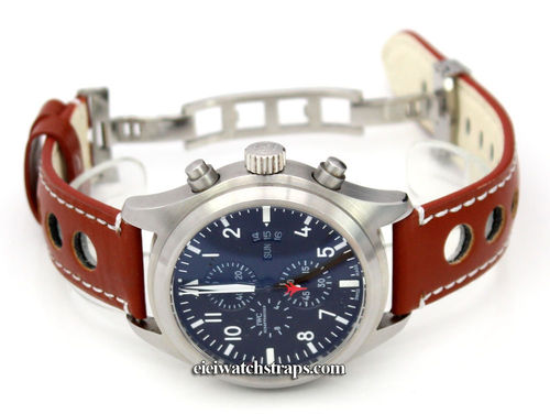 Grand Prix Brown Leather Watch strap on Deployment Clasp For IWC pilot's watches