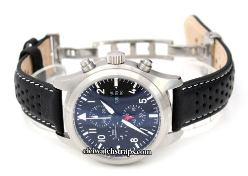 Rally Perforated WHITE stitched Black Leather Watch strap Deployment Clasp For IWC pilot's watches