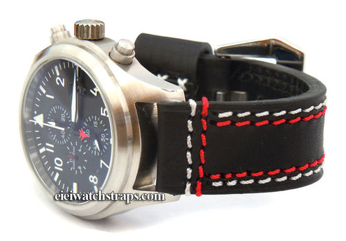 Volcano 22mm Black Leather watchstrap Red & White Stitched For IWC Pilot's Watches