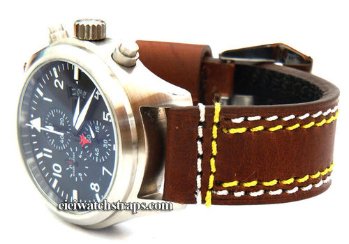 Volcano 22mm Brown Leather watchstrap Yellow & White Stitched For IWC Pilot's Watches