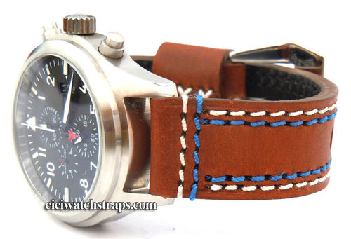 Volcano 22mm Black Leather watchstrap Blue & White Stitched For IWC Pilot's Watches