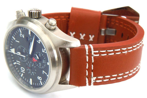 Rayel 22mm Brown Leather watchstrap White Stitched For IWC Pilot's Watches