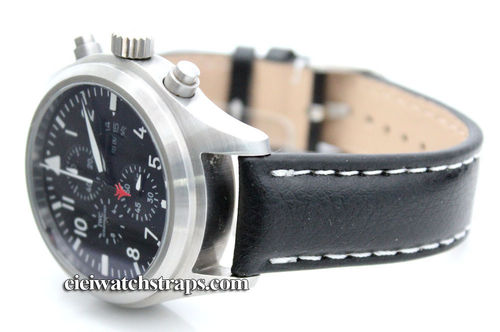 Black Leather Watchstrap White Stitched For IWC pilot's watches