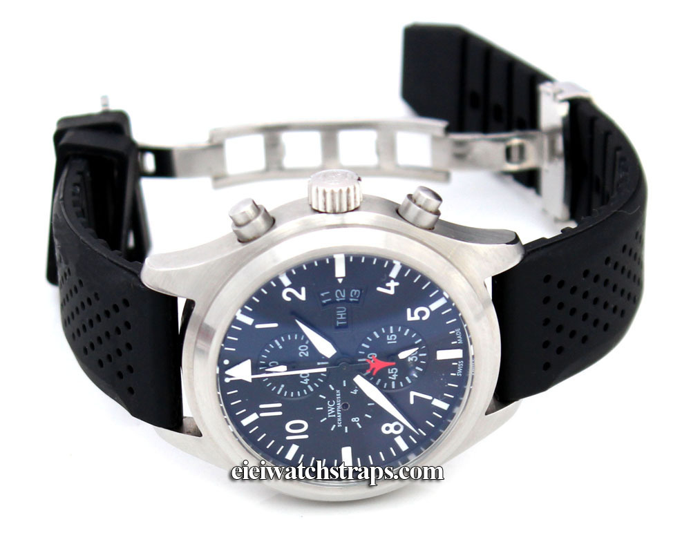 22mm silicon rubber divers watchstrap on stainless steel deployment for iwc pilot 39 s watches for Rubber watches
