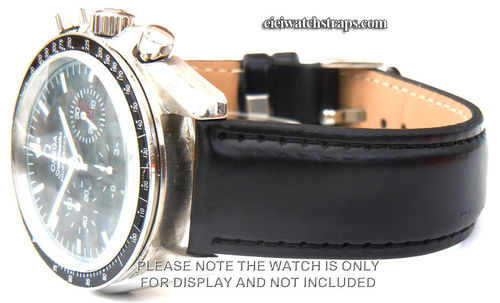 Black Leather Watchstrap For Omega Speedmaster