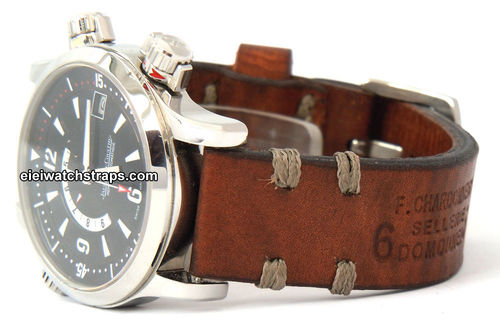 Dom Handmade Vintage style Ammo leather watchstrap For Jaeger-LeCoultre