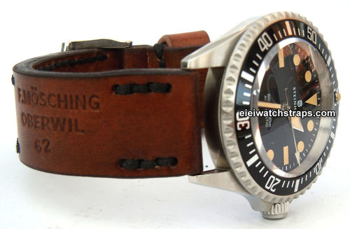 Brooklands Handmade Vintage style Ammo leather watchstrap For Steinhart Watches
