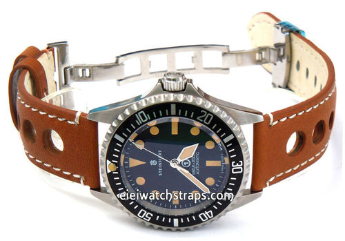 Grand Prix Tan Leather Watch strap on Deployment Clasp For Steinhart Ocean Vintage Military