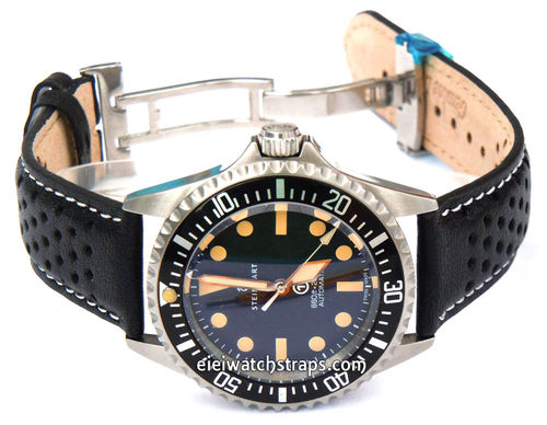 Rally Perforated White stitched Black Leather Watchstrap For Steinhart Ocean Vintage Military