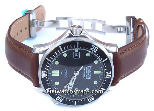 Dark Brown Leather Watch strap on butterfly deployant clasp For Omega Seamaster professional