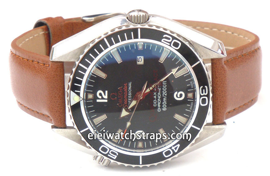 brown leather watch strap for omega seamaster professional