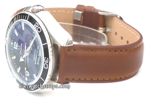Dark Brown Leather Watch strap For Omega Seamaster professional Watches