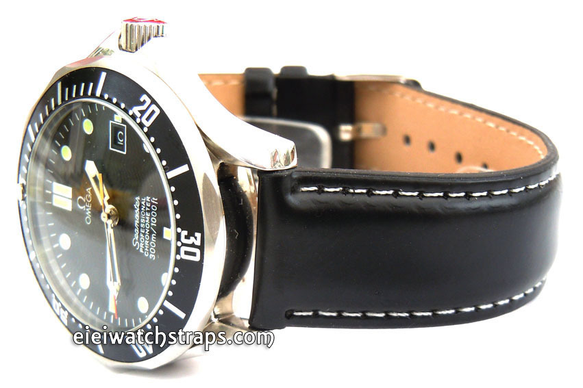 black leather watch strap white stitched for omega