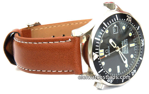 Brown Leather Watch strap White Stitched For Omega Seamaster professional Watches