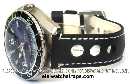 Grand Prix Black Leather Watch strap For Omega Seamaster & Omega Planet Planet Ocean Watches