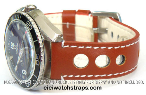 Grand Prix Brown Leather Watch strap For Omega Seamaster & Omega Planet Planet Ocean Watches