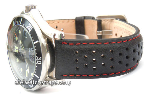 Rallye Perforated Red stitched Black Leather For Omega Seamaster & Omega Planet Planet Ocean Watches