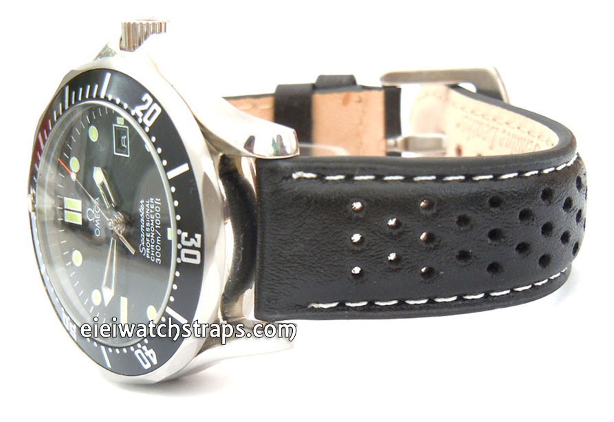 d897bb3cad3 Rallye Perforated White stitched Black Leather Watch Strap Omega Seamaster  ...