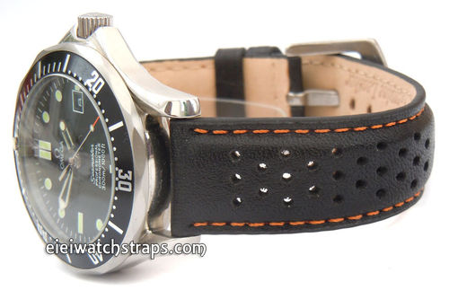 Rallye Perforated Orange Stitched Black Leather Watch Strap Omega Seamaster