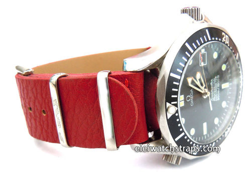 NATO Red Leather Watch Strap For Omega Seamaster & Omega Planet Planet Ocean Watches